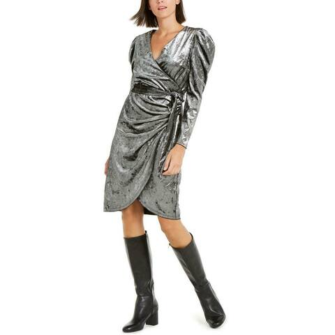 INC International Concepts Women's Puff-Sleeve Velvet Wrap Dress Black Size Large