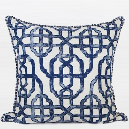 "G Home Collection Luxury Blue Classic Geometry Pattern Pillow With Tassels 20""X20"""