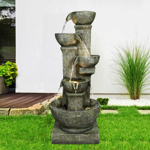 4-Tiered Bowls Fountain w/LED Lights Outdoor Decorative Water Feature