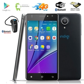 "Indigi 4G LTE Unlocked 5.0"" Android 6.0 4Core Smartphone DualSim + Bluetooth included - Black"