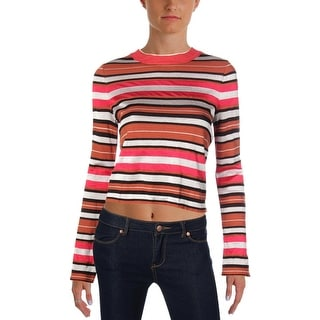 Free People Womens Crop Sweater Striped Long Sleeve