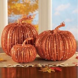 Harvest Pumpkins Fall Decorations - Set of 3