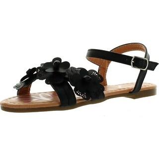 Yokids Cindee-73 Little Girls Flat Sandals With Front Flower Design