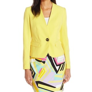 Nine West Yellow Women's Size 6 One-Button Collarless Jacket