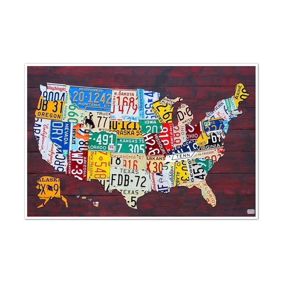 License Plate United States Map.Shop United States Map License Plate Art 36x24 Matte Poster