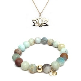 Green Amazonite Bracelet & Lotus Flower Gold Charm Necklace Set