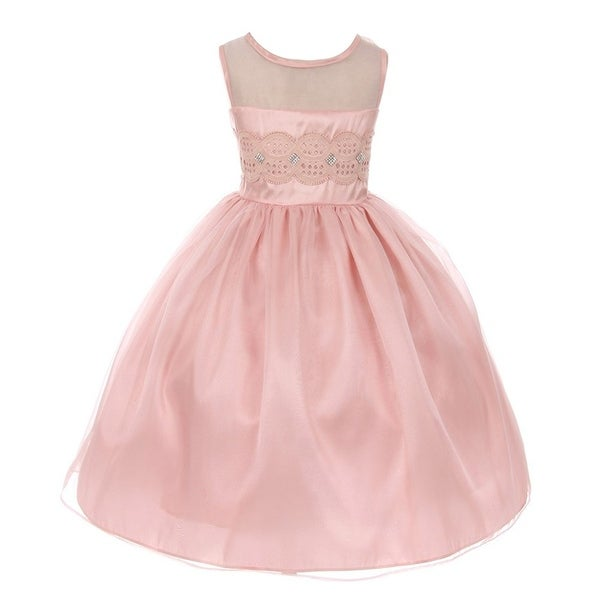 1bc639ff53d Shop Good Girl Little Girls Pink Lace Contrast Organza Flower Girl Dress -  Free Shipping Today - Overstock - 18172703