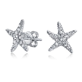 Bling Jewelry CZ Starfish Pave Stud 925 Sterling Silver Earrings