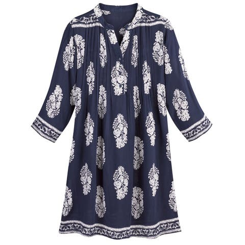 77a3bc2c673 Women s Navy Medallions Tunic Top - 3 4 Sleeve Long Fit Blouse