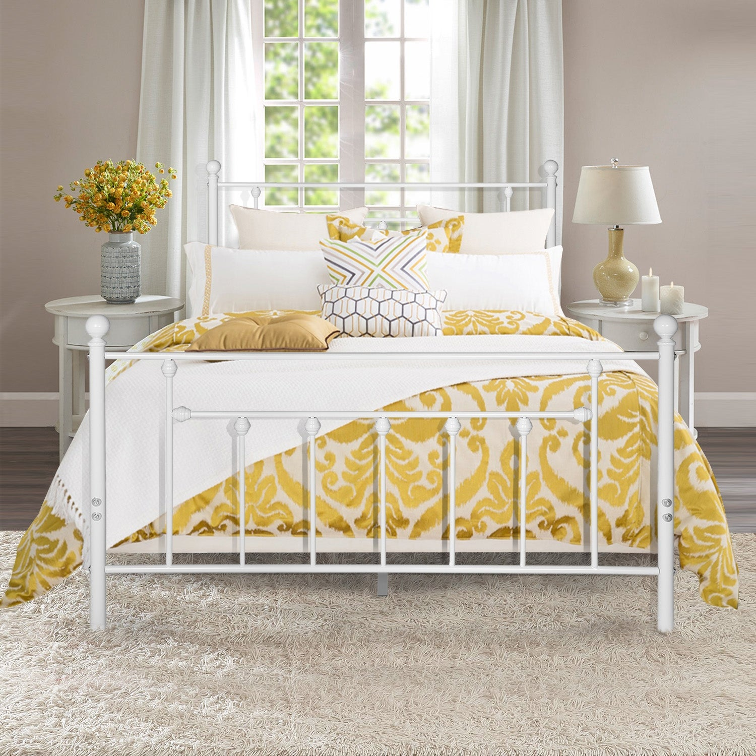 Vecelo Antique White Metal Bed With Pipe Frame Headboard Footboard Twin Full Queen Size 3 Opotion Overstock 29824104