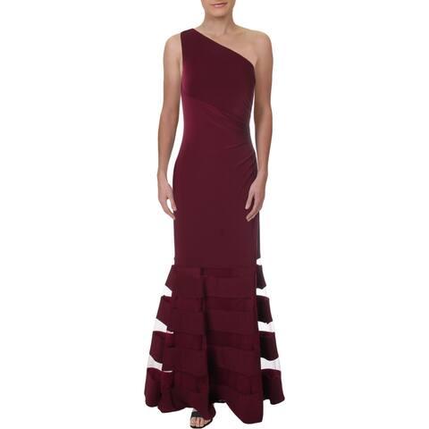Lauren Ralph Lauren Womens Plus Carilla Formal Dress One Shoulder Ruched - Exotic Ruby