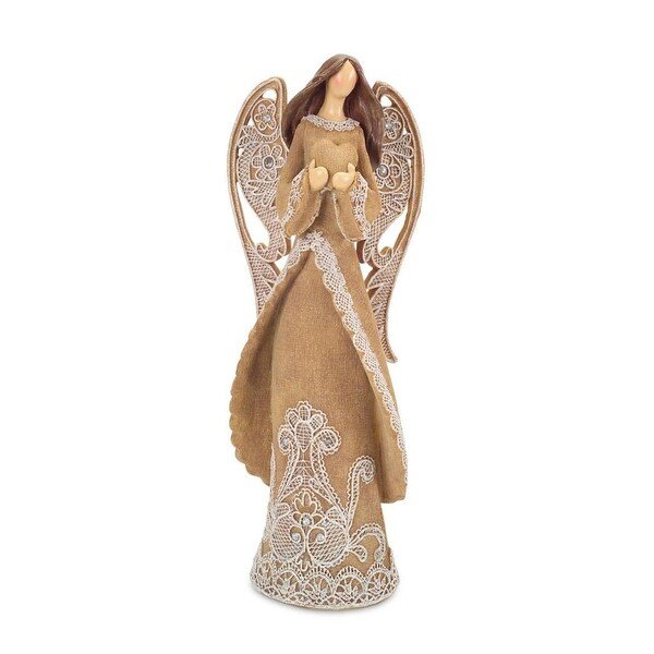 "16"" Brown and White Angel with Lace Holding Heart Detail Christmas Figurine"