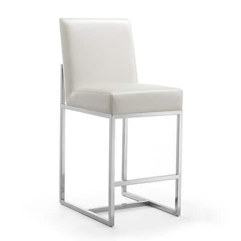 Manhattan Comfort Element 37.2 in. Chrome Stainless Steel Counter Height Bar Stool