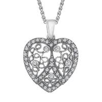 Van Kempen Victorian Heart Pendant with Swarovski Crystals in Sterling Silver - White
