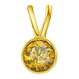 Prism Jewel 0.10CT Round 2.90MM Bezel Set Color Diamond Solitaire Pendant