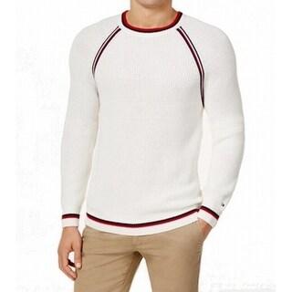 Tommy Hilfiger White Mens Size Medium M Caleb Crewneck Sweater