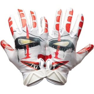 Battle Sports Science Clown Adult Cloaked Football Receiver Gloves - White