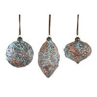 Club Pack of 12 Brown and Blue Christmas Ornaments 4.5""