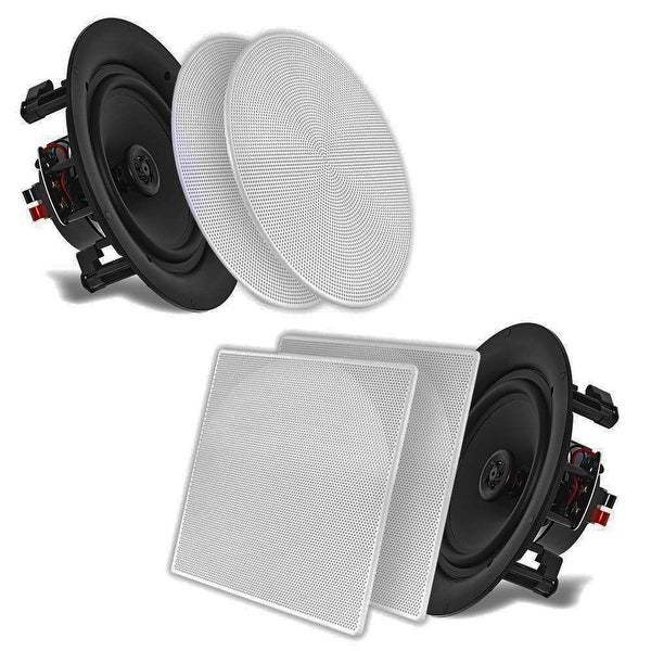 "Pyle 10"" In-Wall / In-Ceiling Dual Stereo Speakers 250 Watt 2-Way Flush Mount White (Pair)"