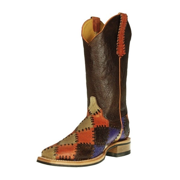 Cinch Western Boots Womens Crackle Patchwork Tan Orange Purple