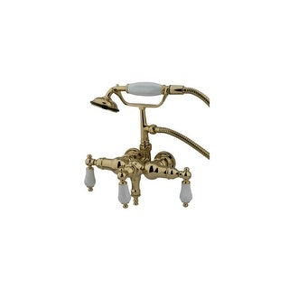 """Elements Of Design DT0192PL  Triple Handle Wall Mounted Clawfoot Tub Filler with 3-3/8"""" Center, Personal Hand Shower and"""