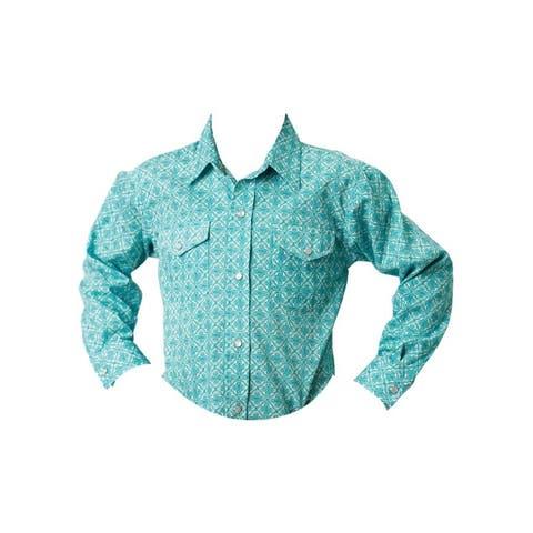 Roper Western Shirt Boys L/S Snap Lattice Blue