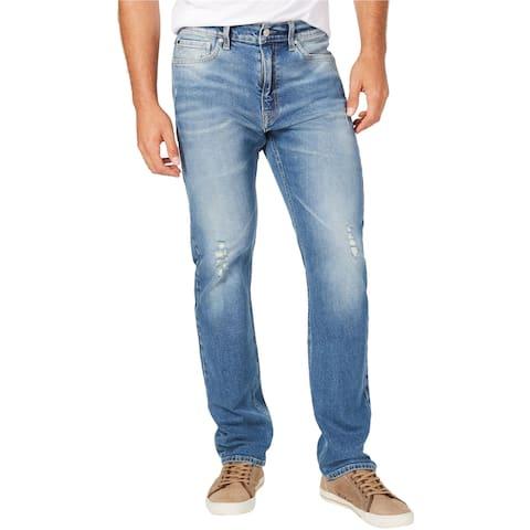 Calvin Klein Mens Ripped Straight Leg Jeans, Blue, 38W x 32L