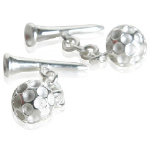 Golf Ball and Tee Golfer Golfing Sports Cufflinks In Sterling Silver