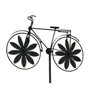 Retro Bicycle Metal Windmill Garden Stake - Green