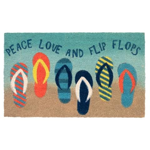 """Liora Manne Natura Flip Flops Outdoor Mat Ombre Blue 18""""x30"""""""