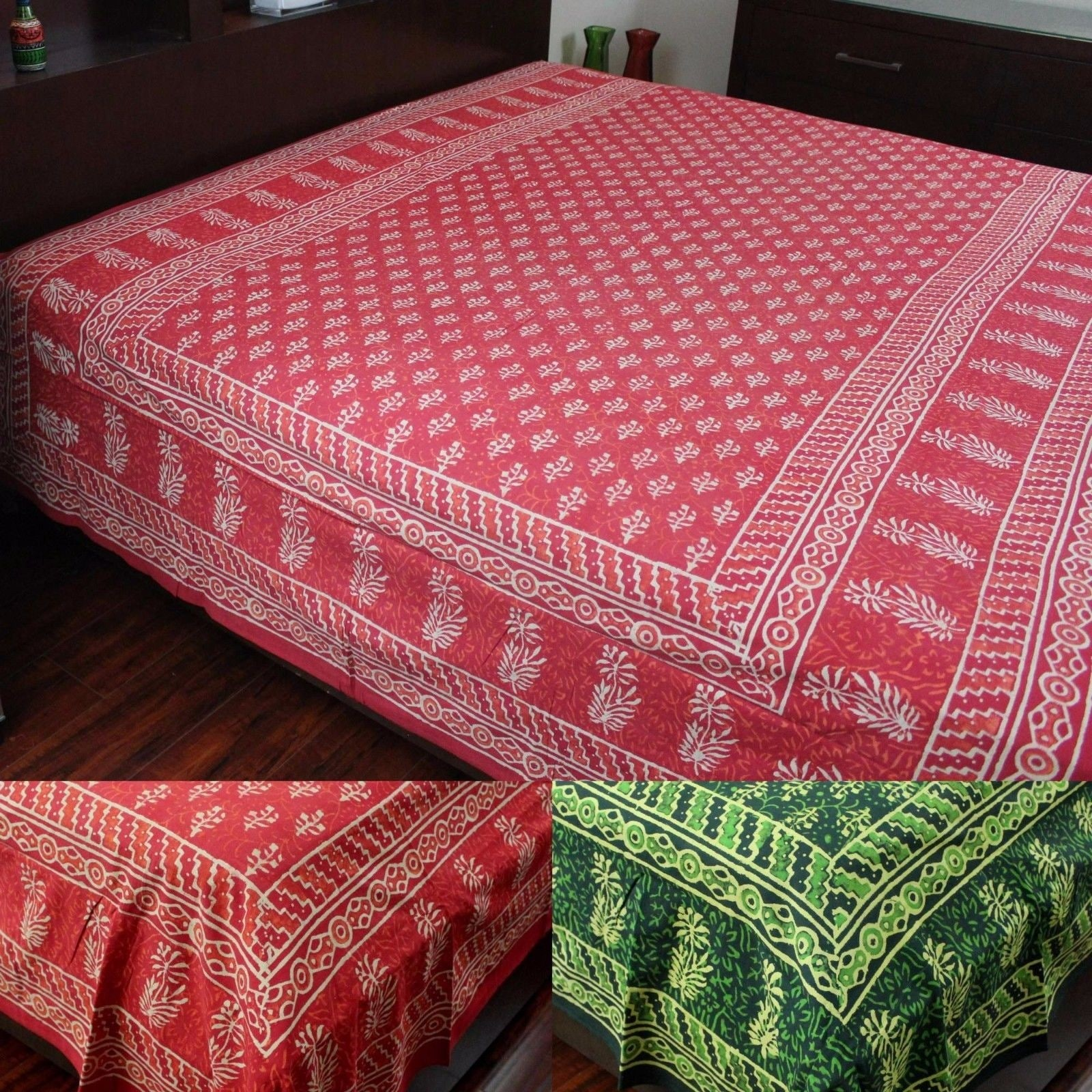 Indian Hand Block Print Cotton Bedspread Queen Blanket Throw Tapestry Bed Cover