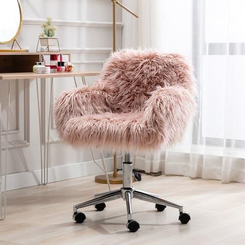 Risner Faux Fur Chrome Base adjustable Office Chair
