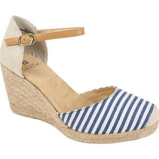 White Mountain Women's Mamba Navy White Striped Canvas
