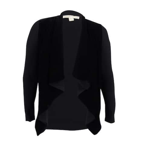 MICHAEL Michael Kors Women's Velvet Waterfall Cardigan (L, Black) - Black - L