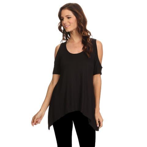 Women's Cold Open Shoulder Short Sleeve Shirt