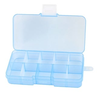 Unique Bargains Blue Hard Plastic Adjustable 10 Compartments Storage Case Box Organizer