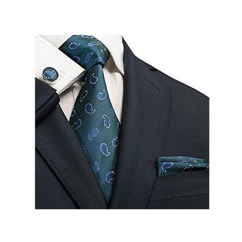 TheDapperTie Men's Dark Green Paisley 100% Silk Neck Tie Set 94N - regular