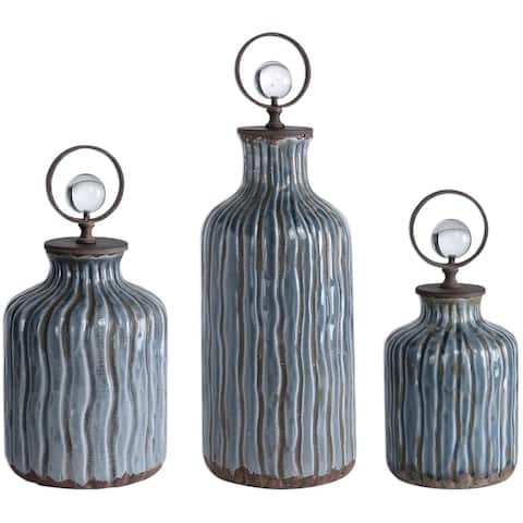 Uttermost 18633 Mathias Set of Three Crystal and Metal Decorative Bottles - Blue-Gray