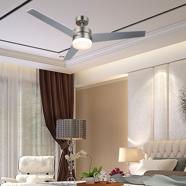 "CO-Z 52"" 3-Blade Modern Reversible LED Ceiling Fan with Light Kit and Remote Control. Opens flyout."