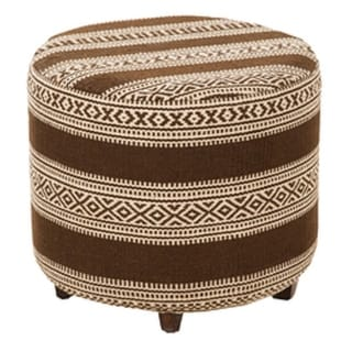"20"" Chocolate Brown and Light Beige Upholstered Wool and Wooden Foot Stool Ottoman"