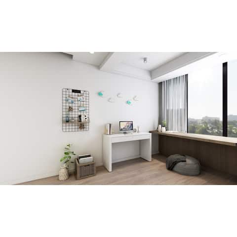 Rye Studio White Glossy Desk with 2 Drawers in White