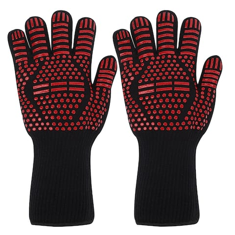 Knitted Elastic Oven Mitts 932F Heat Resistant Gloves 1Pair Equal Sign - Red