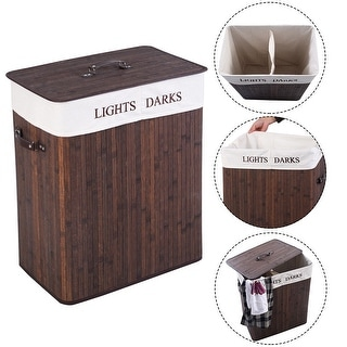 Costway Double Rectangle Bamboo Hamper Laundry Basket Cloth Storage Bag Lid Brown