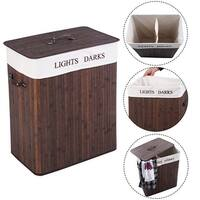 Costway Folding Double Rectangle Bamboo Hamper Laundry Basket Cloth Storage Bag Lid Brown