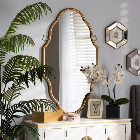 Dennis Vintage Antique Gold Finished Accent Wall Mirror