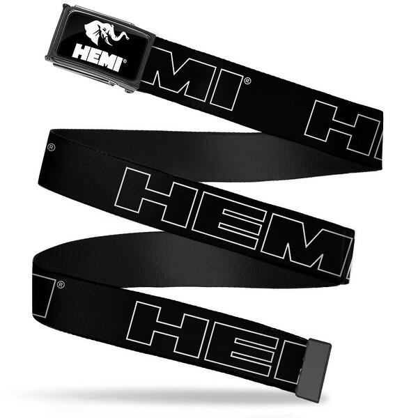 Hemi Elephant Logo Fcg Black White Chrome Hemi Bold Outline Black Web Belt