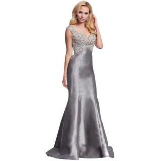 Mac Duggal Rhinestone Embellished Prom Mermaid Evening Gown Dress