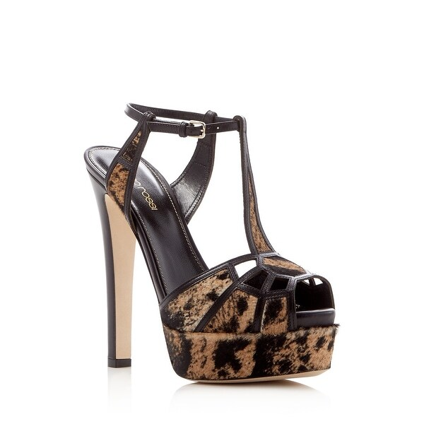 Sergio Rossi Puzzle Calf Hair T-Strap High Heel Platform Sandals - 7 b(m)