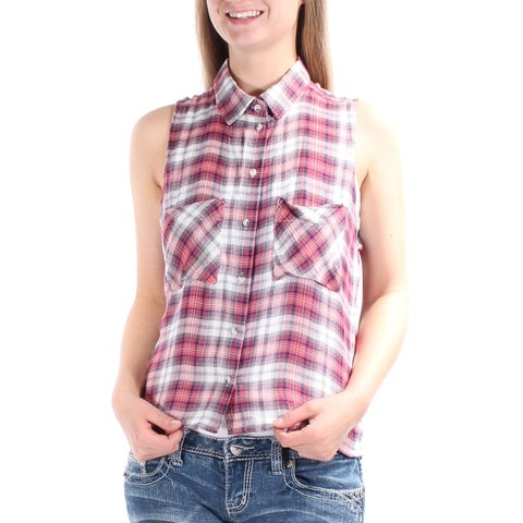POLLY & ESTHER New 1234 Black, Red Plaid Collared Button Up Top Juniors M B+B