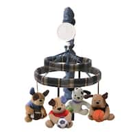 Lambs & Ivy Bow Wow Buddies Blue Dog Sports Theme Musical Baby Crib Mobile